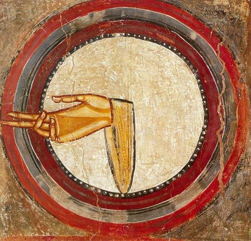 Dextera Domini,Diestra de Dios o Mano derecha del Señor.Pintura mural SXII Tahull. Bello gesto de bendición donde imagen y Palabra se esclarecen mutuamente.Ejemplo de símbolo como mediador pedagógico que facilita los contenidos de la fe.