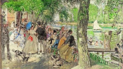 Baños en el Sena.1869. Óleo sobre lienzo,59x80cm.Moscú The State Pushkin Museum of Fine Arts.Los festejos y paseos a orillas del Sena centraron su atención captando la luz y la atmósfera en una variable paleta de colores.