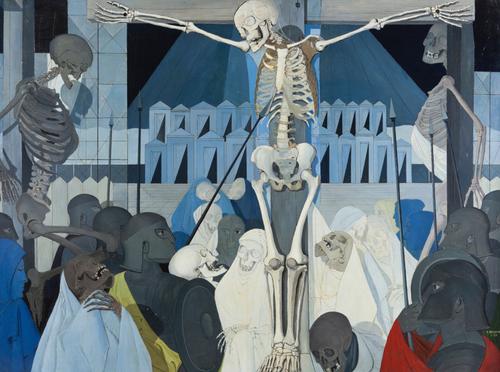 La Crucifixión de Paul Delvaux, una de sus obras maestras.Durante la II Guerra Mundial vivió el pánico del éxodo belga a Paris con el avance de los nazis.Los esqueletos se adueñan de sus telas,los centuriones y Cristo ante el horror de la escena.