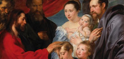 Van Dyck, diversidad de miradas, respeto y trascendencia del momento, dos mundos representados, el bíblico y el contemporáneo al pintor, los une en clave narrativa las manos de Jesús, unión simbólica entre lo divino y humano.