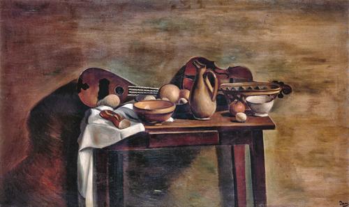Derain.La mesa puesta 1922.Museo de Arte Moderno, Troyes.Sobriedad y mesura, vestigios de arcaismo,integra ciertos elementos de modernidad-Cézanne y Cubismo con cierto academicismo.Fondos lisos, falta de profundidad.