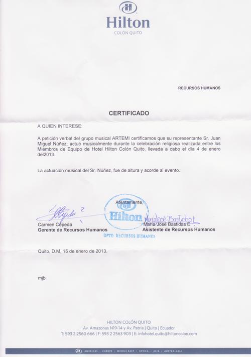 Testimonio Hotel Hilton Colón