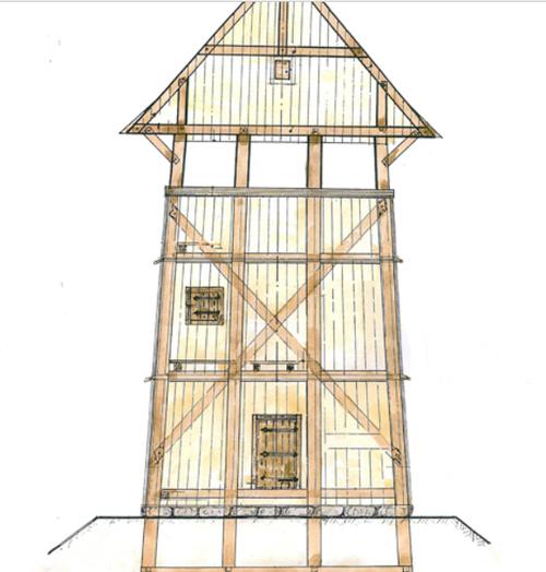 Zeichnung zur Rekonstruktion und Bilder der Motte in Lütjenburg (D). Quelle: www.turmhuegelburg.de