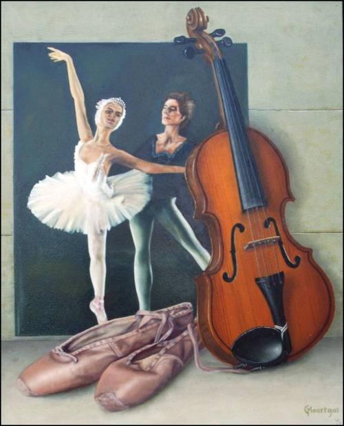 Ballet compositie  -  Olieverf op doek  50 x 60 cm