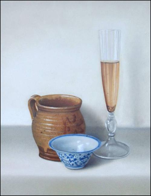 Compositie stilleven  - Olieverf op doek  50 x 60 cm