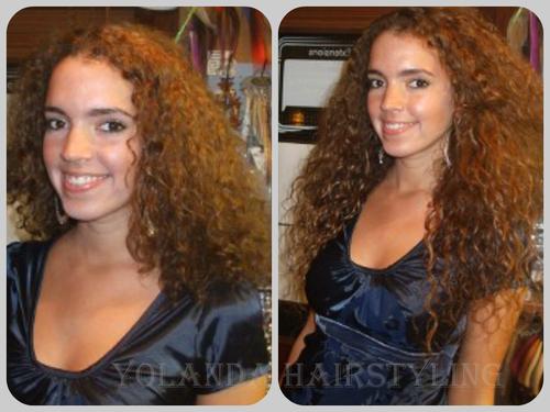Voor en na de haarverlenging met microring extensions