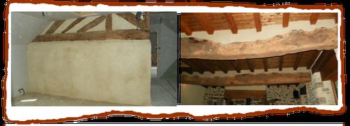 Colombages enduit s  de chaux effectués par l'entreprise  Blié Longaulnay