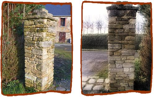 Piliers de pierres  maçonnés  à la chaux