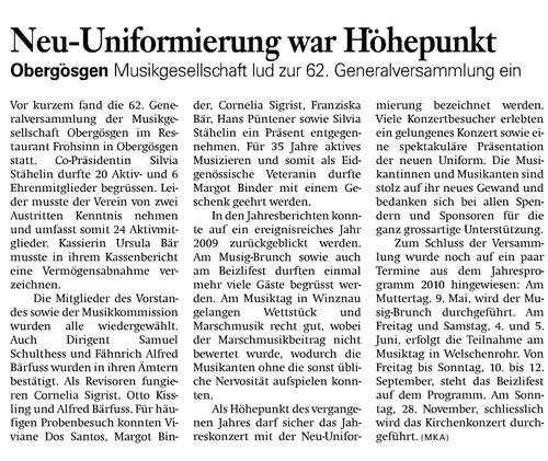 Oltner Tagblatt  27.2.2010