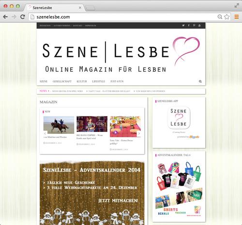 Website www.szenelesbe.com mit Adventskalender Gewinnspiel Aktion