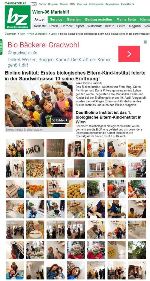 bz - Wiener Bezirkszeitung, Online Bericht vom 29.4.2014