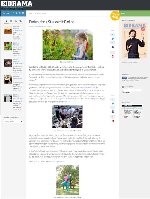 BIORAMA - Magazin für nachhaltigen Lebensstil, Online Bericht vom 24.6.2014