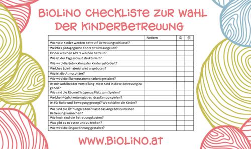 Biolino Blog Checkliste Kinderbetreuung Kindergarten Vortrag