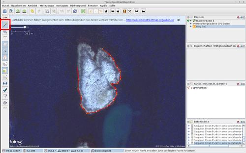 Mit dem Punkte-setzen-Werkzeug wird eine Insel im Uhrzeigersinn nachgeklickt, bis sie den Ausgangspunkt trifft.