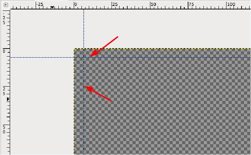 Eine vertikale und horizontal hinzugefügte Hilfslinie markieren per Augenmaß einen Druckrand.