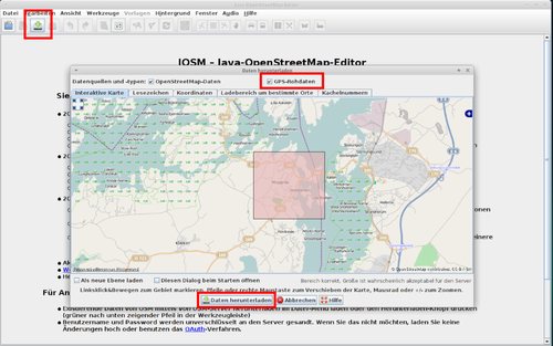 Das Fenster zum Download der Arbeitsdaten für JOSM. Eingerahmt sind die jeweils wichtigen Buttons.