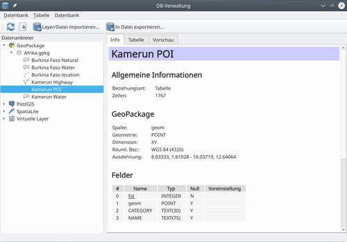 GeoPackage-Datenbanken (hier: Afrika.gpkg) werden in QGIS z.B. mit dem integrierten Datenbank-Manager verwaltet. Für jedes enthaltene Layer lassen sich zusammengefasste Informationen und eine Vorschau auf die Geometrie abrufen.