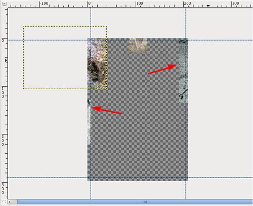 Diese hinzugefügten Einzelbilder (jeweils eine eigene Ebene) wurden zwecks Übersichtlichkeit aus dem eigentlich Arbeitsraum (transparent karierter Bereich) hinausgeschoben.