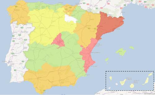 Mapa de colores del Presupuesto de Licitaciones BIM por CCAA