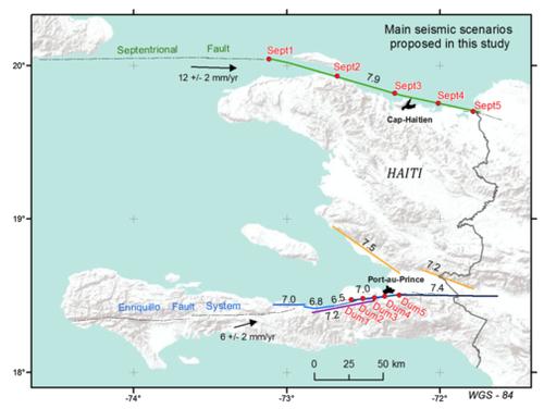 Mapa de previsión de futuros terremotos en Haití. / Universidad de Alicante