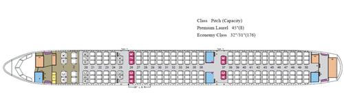EVA Air A321-Kabinenplan mit 184 Sitzplätzen/Courtesy: EVA Air