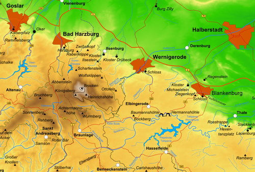 Situationsplan des Nord-Harz, im östlichen Teil mittig Blankenburg und Elbingerode