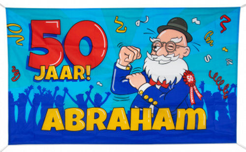Gevelvlag 90x150 cm € 7,95 Abraham Cartoon