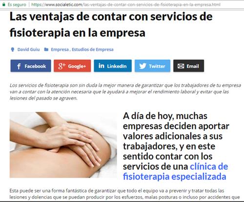 Artículo en socialetic de Clínica Fisia sobre las ventajas de contar con servicios de fisioterapia en el trabajo