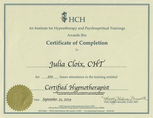 Certificate Julia Cloix HCH