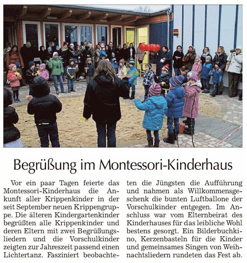 Artikel zum Willkommensfest der Krippenkinder in der Landshuter Zeitung vom 28.12.13