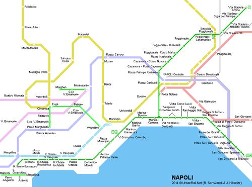 Plan avec le trajet du tram 1 en vert dont le terminus, Cristoforo Colombo, correspond à l'arrêt en face du port (cliquer pour agrandir).