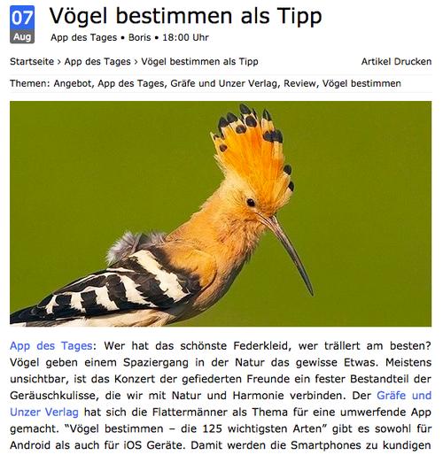 Vögel bestimmen App - Tipp von appgamers.de
