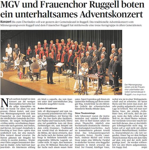 Lokalzeitung Volksblatt, 1. Dezember 2014
