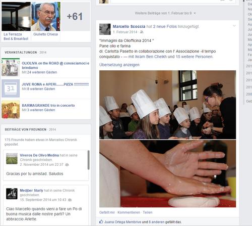 Diverse Facebook-Einträge auf Marcello Scoccias Profil zeugen vom Marketingevent von Carapelli.