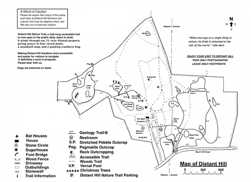 Our first map showing the original 58 acres of land comprising Distant Hill Gardens and Nature Trail