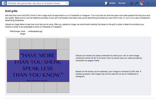 outil grille facebook calcul texte visuel photo publicités 20%