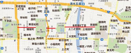 西本願寺から一直線  分断する東本願寺