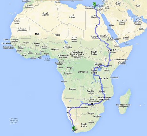 Route from Port Said to Cape Town