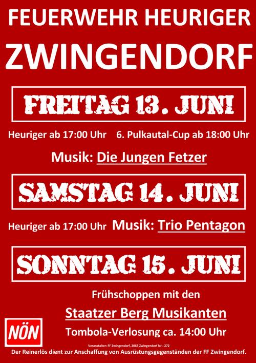 Plakat FF-Heuriger 2014 in Zwingendorf