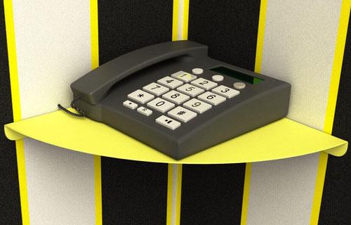 Tablette murale d'angle design couleur jaune pour téléphone filaire