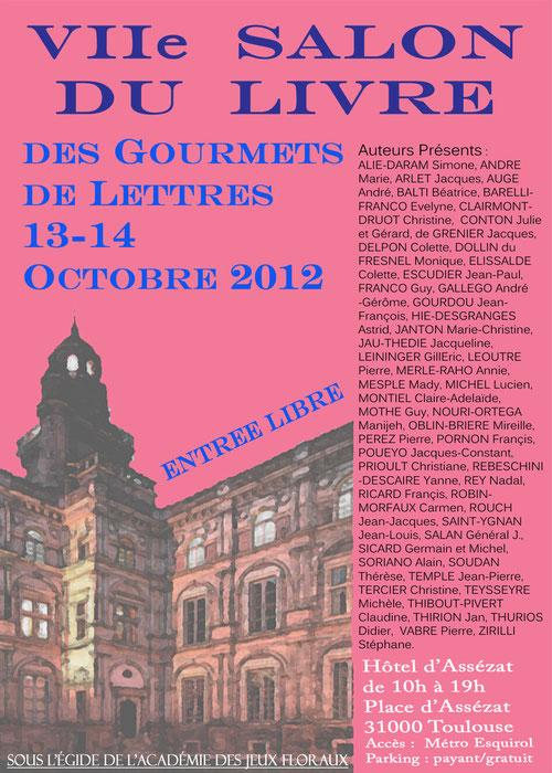Affiche du salon du livre 2012 des Gourmets de Lettres