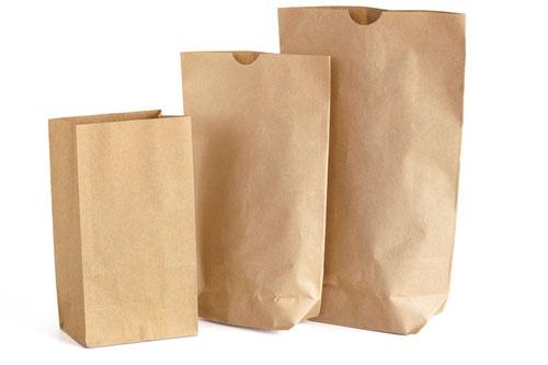 Kraftpapiertüten, Kreuzbodenbeutel und Bodenbeutel braun