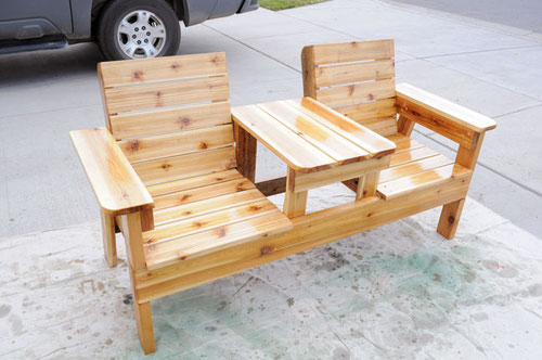 Скамейка со столиком  деревянная 2х1м