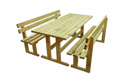 Стол садовый деревянный 2х1м со скамейками и