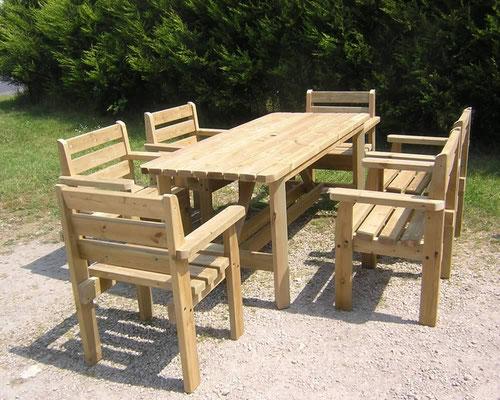 Стол садовый деревянный 2х1м со стульями