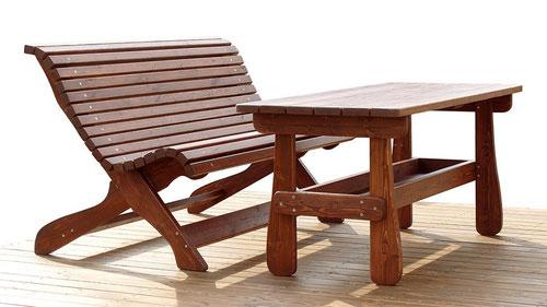 Стол садовый деревянный 2х1м со скамейкой