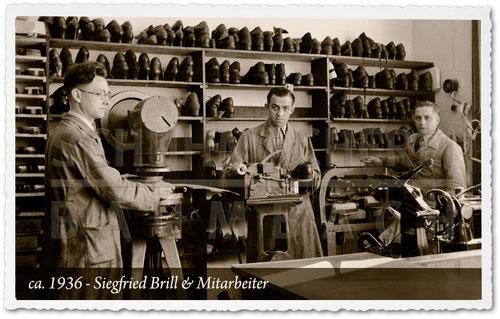 Schuhmacherei Baumbach - 1936 - Schuhmacherei Siegfried Brill in der Grabenstraße 20 in Wiesbaden. Stanze, Doppelmaschine, Sohlenpressen und Mitarbeiter