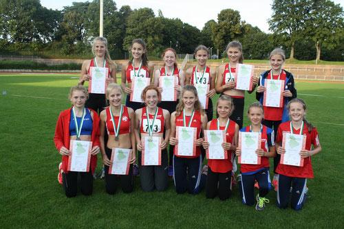 Silber verdienten sich die Athletinnen U14 der StG Rhede-Sonsbeck.
