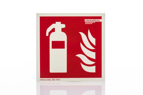Signalisation, Brandschutz, nachleuchted, Feuerlöscher, Löschposten, Norm, ISO 7010, Signal, Sicherheit, Beschilderung