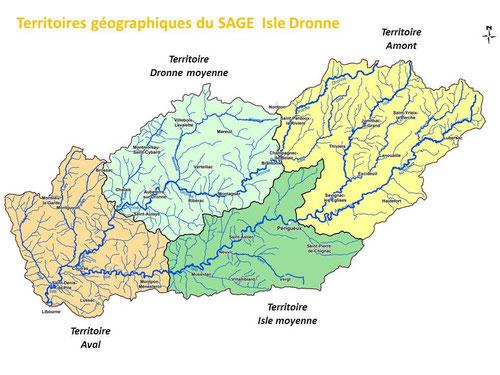 Quatre territoires pour l'animation géographique du SAGE Isle Dronne